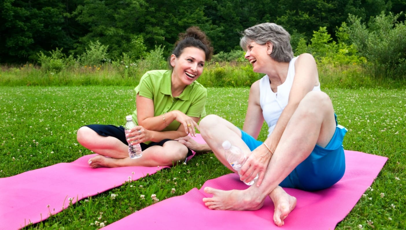 Women outdoor exercise class mature high resolution stock photography and images