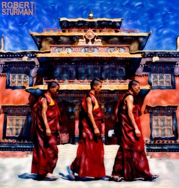 A Polaroid work of Tibetan monks in Kathmandu, Nepal.