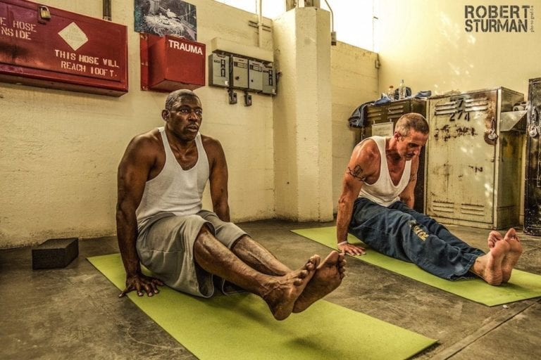 Inmates practiced yoga at San Quentin State Prison in Northern California.