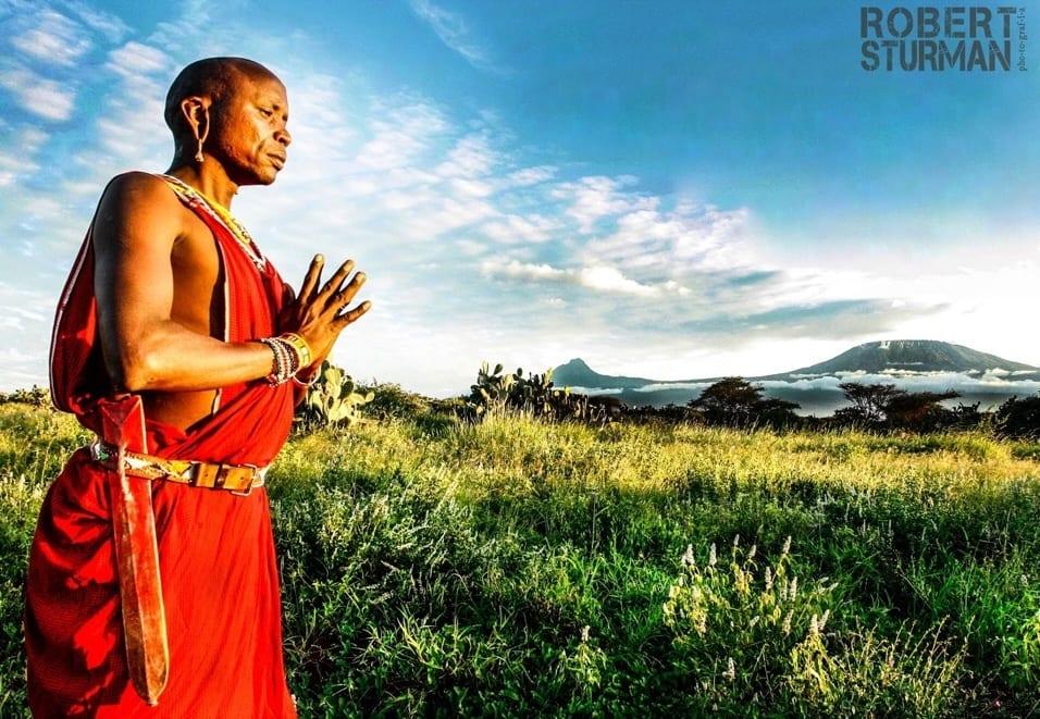 A Maasai warrior pictured at the foothills of Mount Kilamanjaro in Kenya.