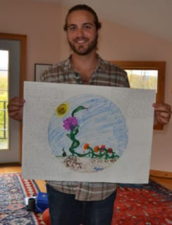 Kyle Buller and his mandala drawing.