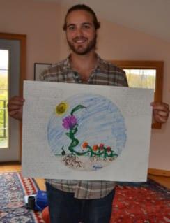 Kyle Buller and his mandala drawing.