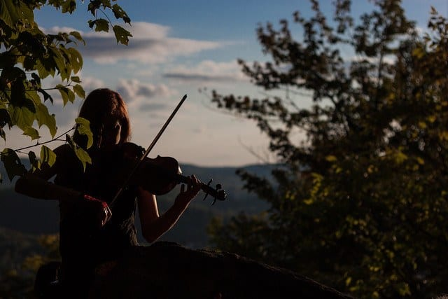 woman playing violin in woods silhouette