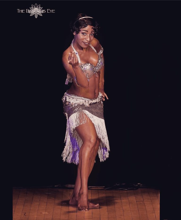 woman in traditional belly dance costume