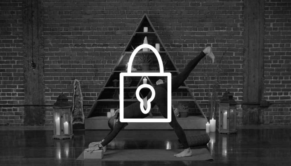 Image of Schuyler Grant in a yoga pose, with a lock logo in the middle.