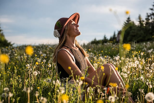 woman sitting in yellow flower field