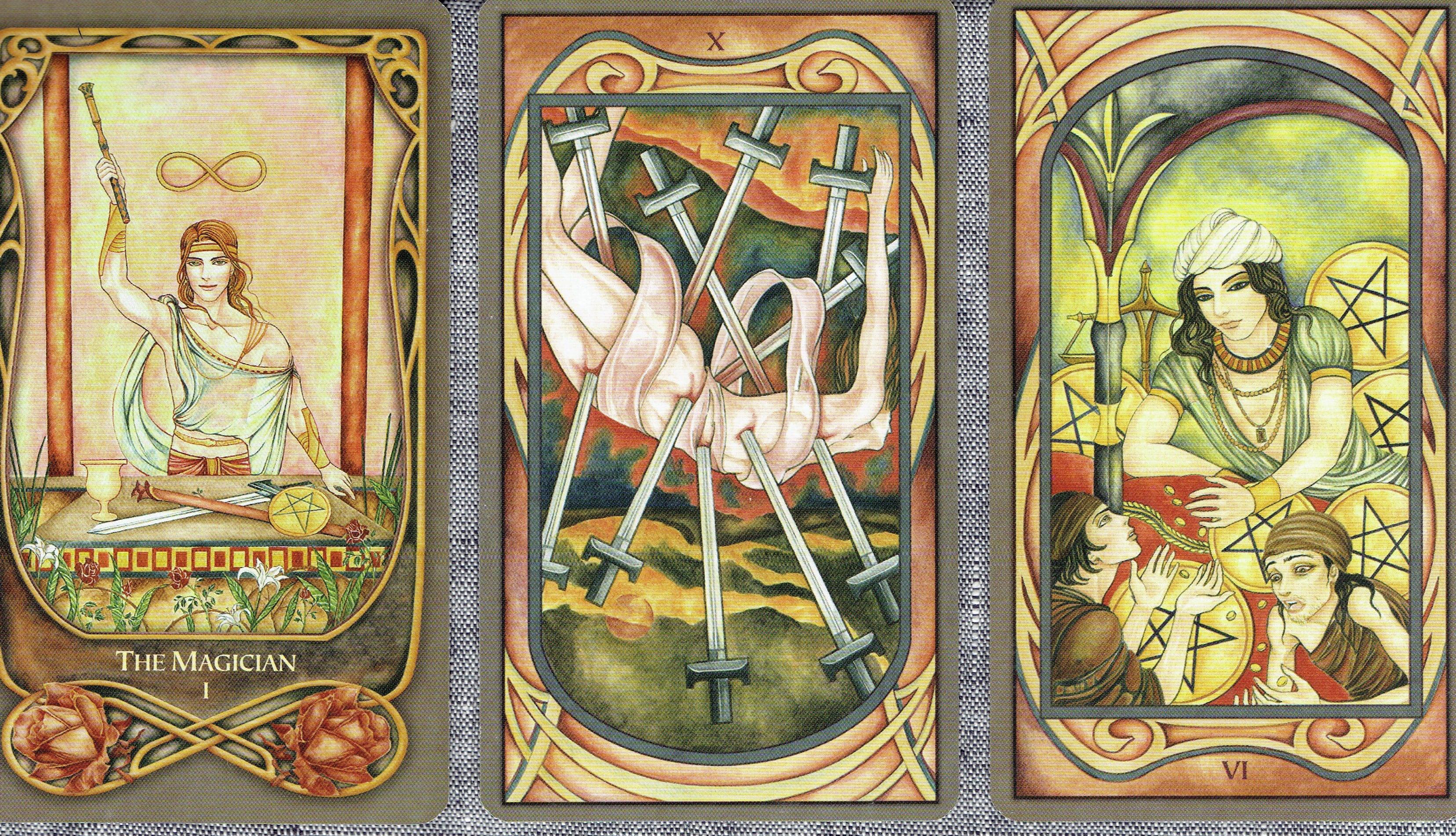 tarot cards in 3-card spread