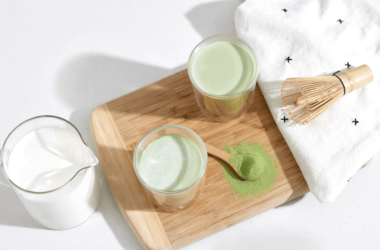 Matcha latte on a table