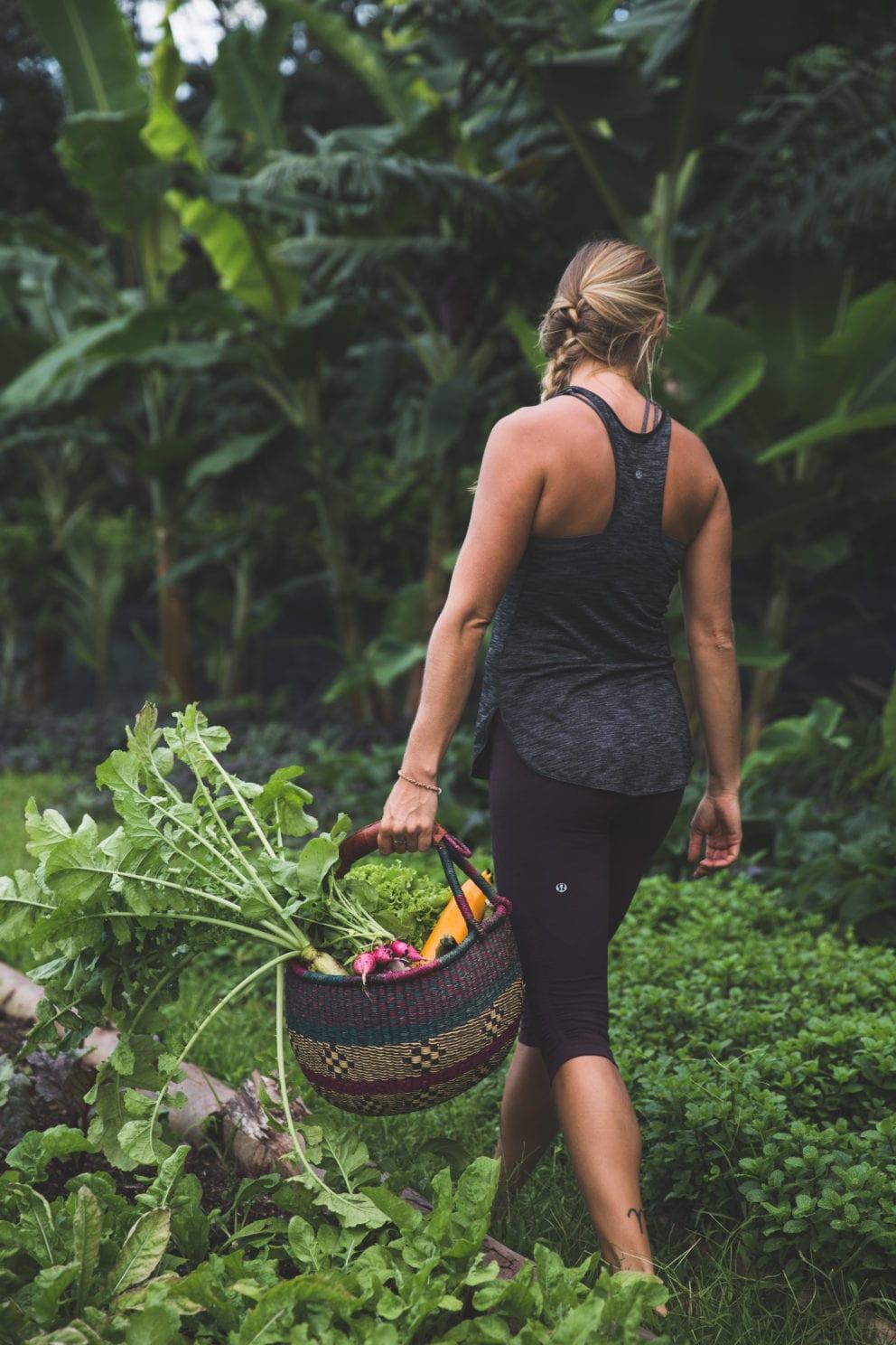 woman holding vegetable basket walking in green farm