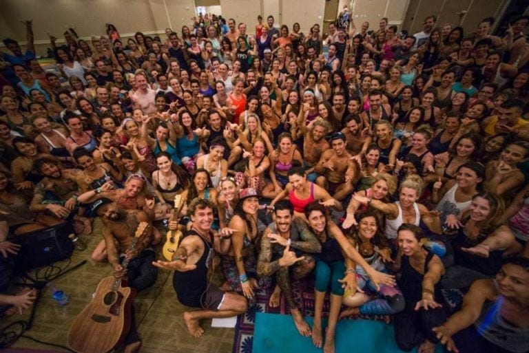 large group of people after yoga class in Hawaii