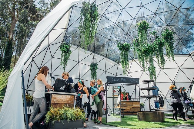 people shopping in dome with plants hanging wanderlust festival