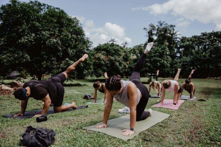 people doing yoga on farm