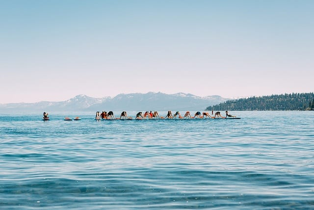 woman teaching SUP on lake tahoe