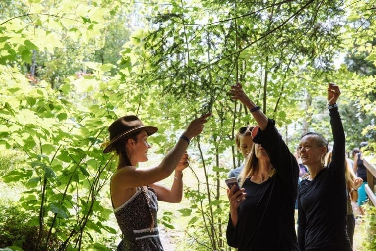 woman showing branches of tree to people Wanderlust Festival