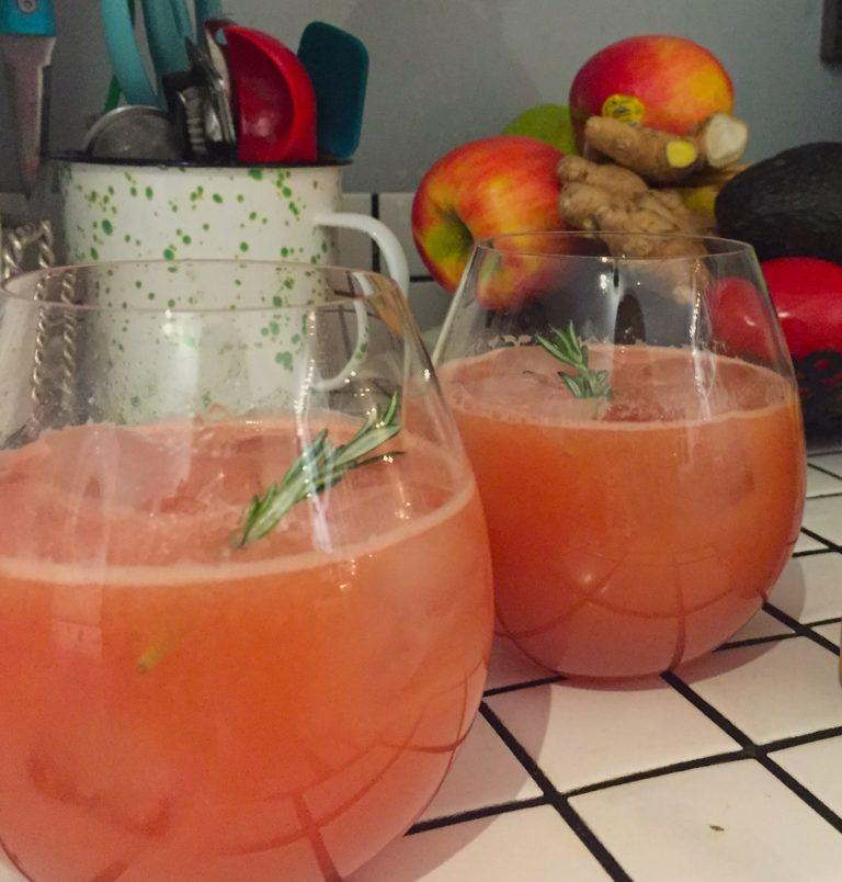 paloma mocktail with rosemary