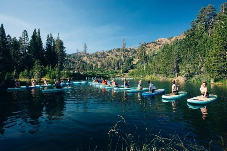 SUP yoga on lake tahoe